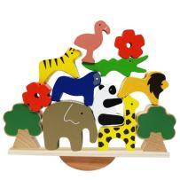 Lewo Wooden Animals Stacking Blocks Balancing Games Playset Montessori Toy for Toddlers