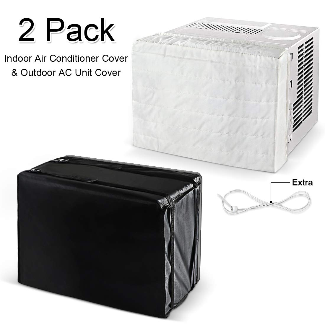 """LadyRosian Indoor Outdoor Window Air Conditioner Cover Combination, Waterproof Air Conditioner Unit Cover, Air Conditioner Defender, Black & White, 20.8"""" x 3.5"""" x 13.5"""" + 21.8"""" x 15"""" x 16"""""""