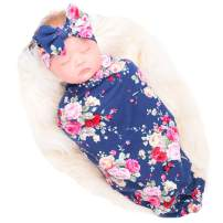 Bucaum Newborn Receiving Blanket Headband Set Flower Print Baby Swaddle Receiving Blankets (Dark Blue Rose)