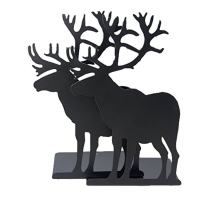 A Pair of Creative Vintage Iron Metal Heavy Nonskid Black Elk Moose Animal Bookends Home Office Workplace Supply Decoration Gift