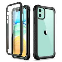 """Dexnor iPhone 11 Case with Screen Protector Clear Rugged Full Body Protective Shockproof Hard Back Defender Dual Layer Heavy Duty Bumper Cover Case for iPhone 11 6.1"""" - Black"""