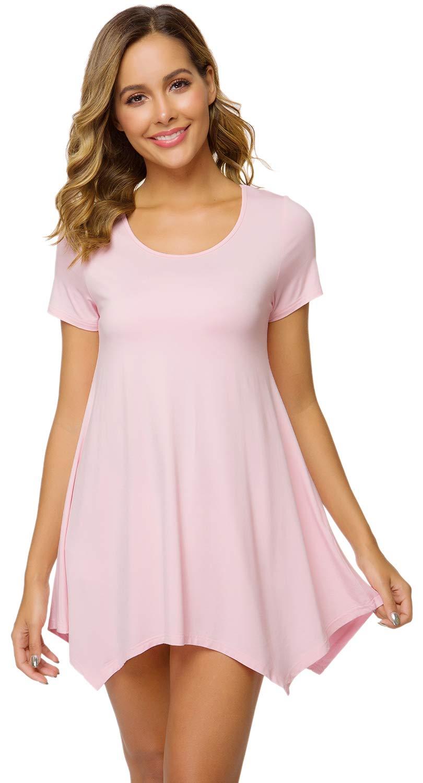 WiWi Women's Bamboo Nightgown Short Sleeve Tunic Shirt Leggings Top Sleep Shirts Soft Plus Size Sleepwear S-4X