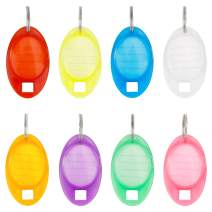 Uniclife 24 Pieces Tough Plastic Key Tags Oval Shaped Label Tag with Window and Split Ring, 8 Colors