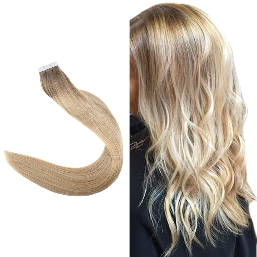 """Easyouth 20"""" Tape In Hair Extensions 50 Gram 20 Pieces Per Pack Balayage Color #6 Medium Brown Fading To #27 And #60 Blonde 100% Human Remy Hair Glue In Hair Extensions Seamless Skin Weft"""