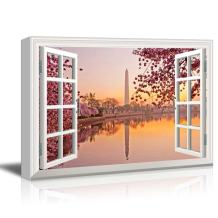 wall26 Window View Canvas Wall Art - Washington Monument and Cherry Blossom - Giclee Print Gallery Wrap Modern Home Art Ready to Hang - 12x18 inches