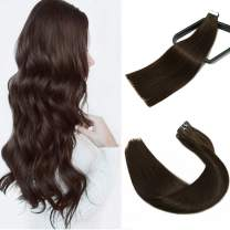 14 Inch 20Pcs 50 Gram Thick End Hair Skin Weft Adhesive Tape In Hair Extension Color 2 Darkest Brown Glue In Remy Human Hair Extension