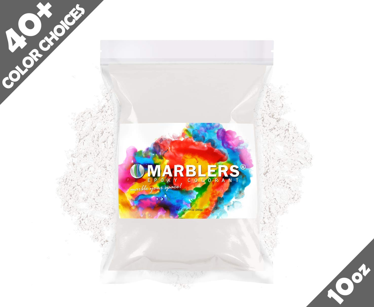 Marblers Powder Colorant 10oz (283g) [Cream White]   Pearlescent Pigment   Tint   Pure Mica Powder for Resin   Dye   Non-Toxic   Great for Epoxy, Soap, Nail Polish, Cosmetics and Bath Bombs