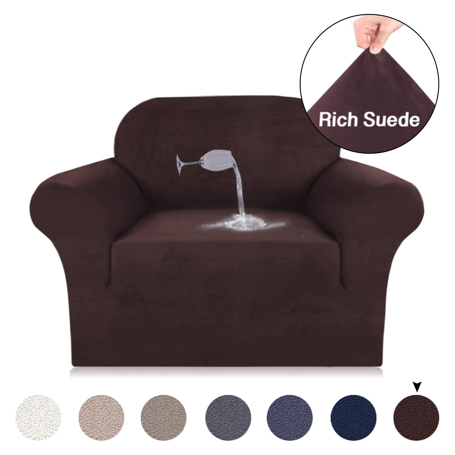 Turquoize Chair Cover Velvet Plush Sofa Slipcover Stretch Sofa Cover for Chair Living Room Slipcover Suede Furniture Cover, Slid Resistant Water Repellent Washable Sofa Protector (Chair, Brown)
