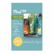 Speedball Art Products 812202 Fluid 100 Artist Watercolor Paper 140 lb Hot Press, 4 x 6 Block, 100% Cotton Natural White