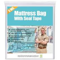 HOMEIDEAS Super Thick 6 Mil Sealable Mattress Bag for Moving, Storage or Disposal Twin/Twin XL, Heavy Duty & Tear and Puncture Resistant Bag with 3 Extra Wide Adhesive Strips - 1 Pack