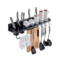 Spice Rack Wall Mount, Kitchen Organizer Shelves Adhesive/Drill Installation Hanging Storage Shelf Metal Seasoning Rack (Black, 40 CM)