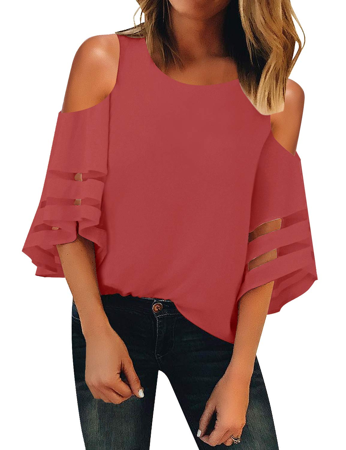 LookbookStore Women's Cold Shoulder Loose Shirt Tops 3/4 Bell Mesh Sleeve Blouse