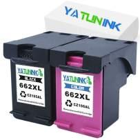 YATUNINK Remanufactured Ink Cartridge Replacement for HP 662XL Black 662XL Color Multipack with Real Ink Level Showing CZ105AL CZ106AL for Deskjet 4645 Deskjet 4666 Printer (1Black+1Color,2Pack)