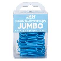 JAM PAPER Colorful Jumbo Paper Clips - Large 2 Inch - Baby Blue Paperclips - 75/Pack