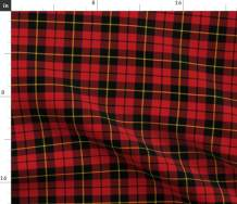 Spoonflower Fabric - Clan Tartan Plaid Red Scottish Kilt Printed on Linen Cotton Canvas Fabric by The Yard - Sewing Home Decor Table Linens Apparel Bags