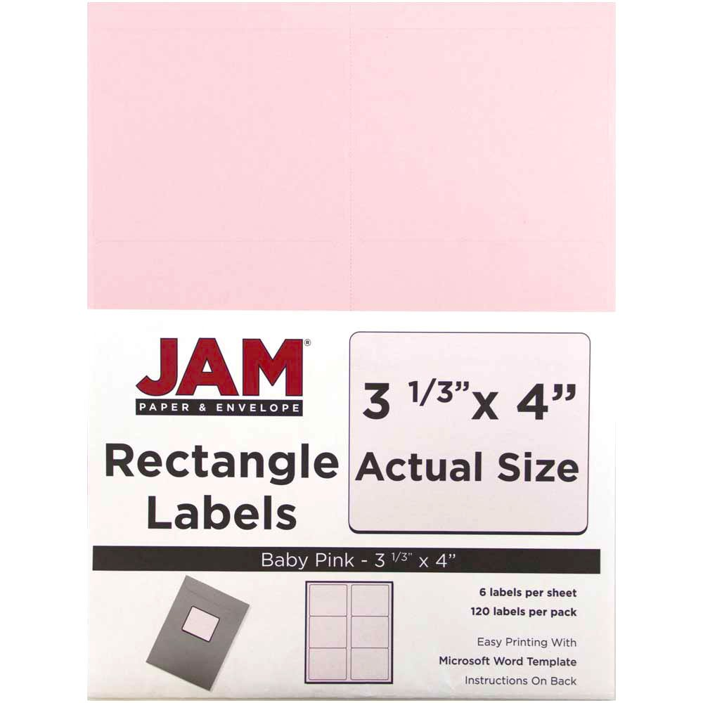 JAM PAPER Shipping Address Labels - Large - 3 1/3 x 4 - Baby Pink Pastel - 120/Pack