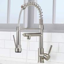 VCCUCINE Modern Commercial Solid Brass Single Handle 2 Spouts Industrial Farmhouse Pull Out Brushed Nickel Kitchen Faucet, Single Hole Stainless Steel Kitchen Sink Faucets with Pull Down Sprayer
