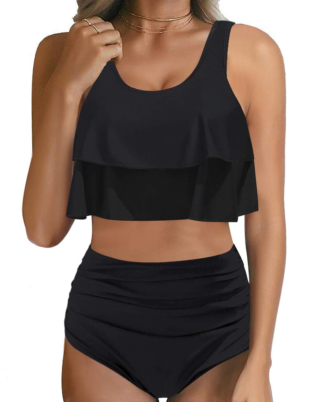 LookbookStore Women High Waisted Ruffled 2 Pieces Bikini Sets Flounce Swimsuits