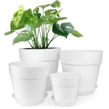 HOMENOTE 7/6.5/5/3.7 inch Plastic Planters Indoor Set of 4 White Plant Pots with Drainage Trays Modern Round Flower pots for House Plants, Succulents, Flowers