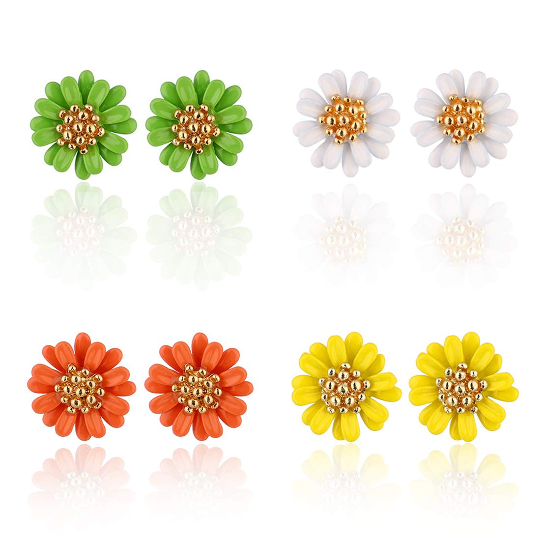 GUNIANG Daisy Flower Earrings Cute Stud Earring for Girls Teens women Sterling Silver Hypoallergenic White Jewelry Gifts