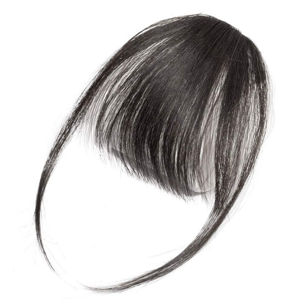 PARAHAIR Clip in Bangs Remy Human Hair Extensions One Piece in Fringe Natural Flat Air Bangs for Women (With Temple, Natural Black)
