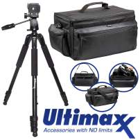 "Ultimax's Extra Large, Water-Resistant Gadget Bag with 80"" Tripod Compatible with Camcorders for Panasonic AG-AC160, AC30, AC90A, AC130A, AF100, HVX200, UX-90, UX-180, HC-X1000, HC-X1, and More"