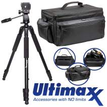 """Ultimax's Extra Large, Water-Resistant Gadget Bag with 80"""" Tripod Compatible with Camcorders for Panasonic AG-AC160, AC30, AC90A, AC130A, AF100, HVX200, UX-90, UX-180, HC-X1000, HC-X1, and More"""
