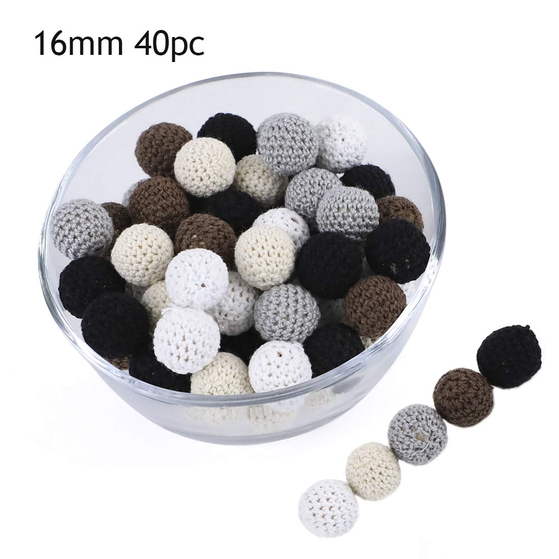 Promise Babe 16mm 40pc Wooden Crochet Beads Black Series Teething Loosing Beads Baby DIY Accessories for Making Necklace Bracelet Teether Toys