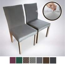 Gorilla Grip Original Velvet Fitted 1 Piece Dining Chair Slipcover, Set of 2, Seat Width to 21.5 Inches, Stretchy Soft Velvety Slip Cover, Spandex Chairs Furniture Protector, Protect from Food Gray