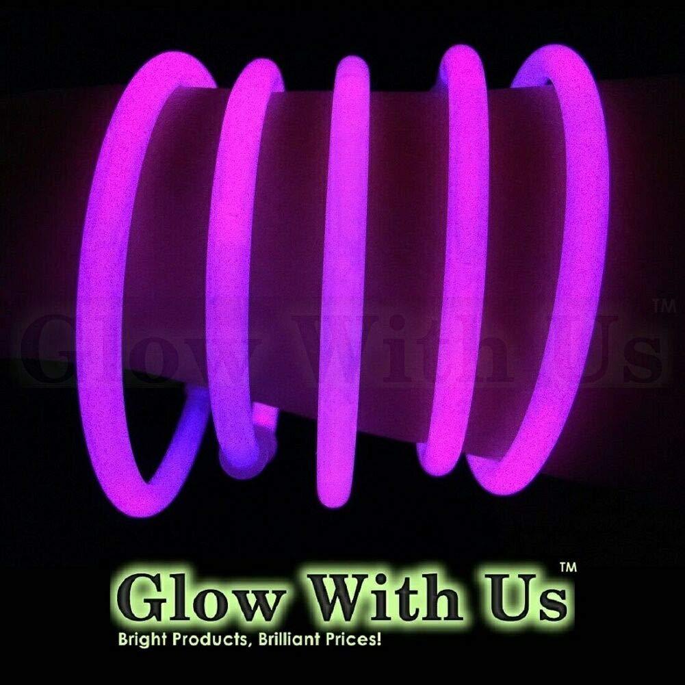 "Glow Sticks Bulk Wholesale Bracelets, 100 8"" Pink Glow Stick Glow Bracelets, Bright Color, Glow 8-12 Hrs, 100 Connectors Included, Glow Party Favors Supplies, Sturdy Packaging, GlowWithUs Brand…"