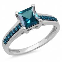 Dazzlingrock Collection 1.60 Carat (ctw) 14K Gold Princess & Round London Blue Topaz Bridal Solitaire Accents Engagement Ring