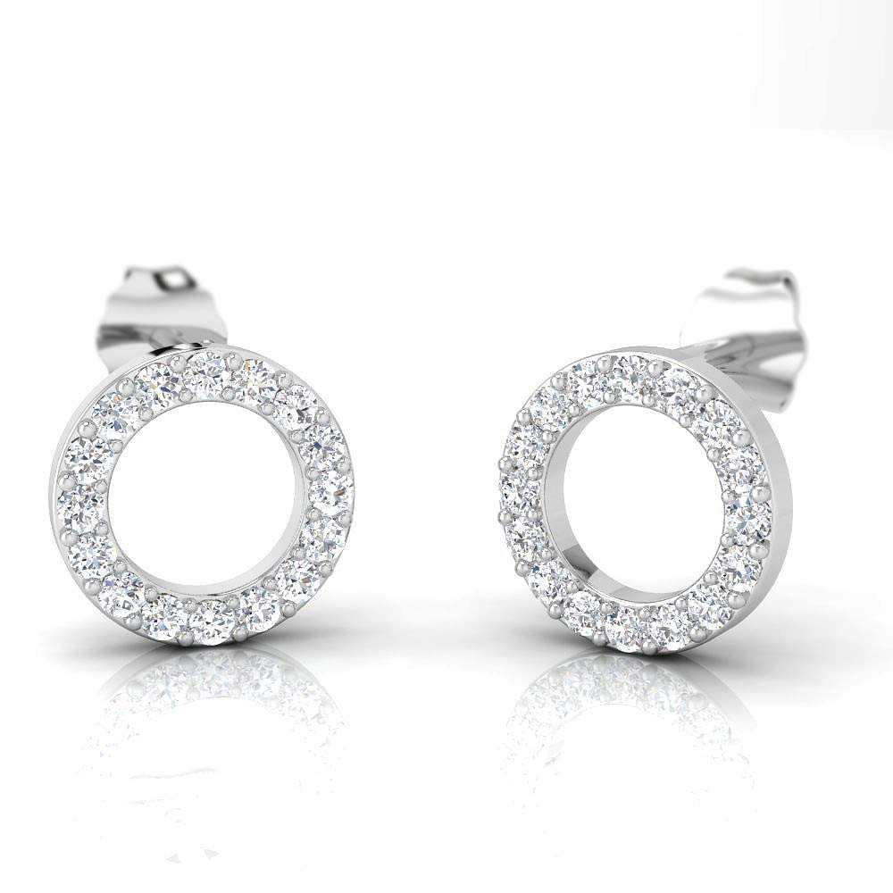 IGI 3/8 Carat Natural Diamond 925 Sterling Silver Basic Circle Shaped Stud Earrings for Women and girls Wife Girlfriend or loved one (J-K Color, I2-I3 Clarity)