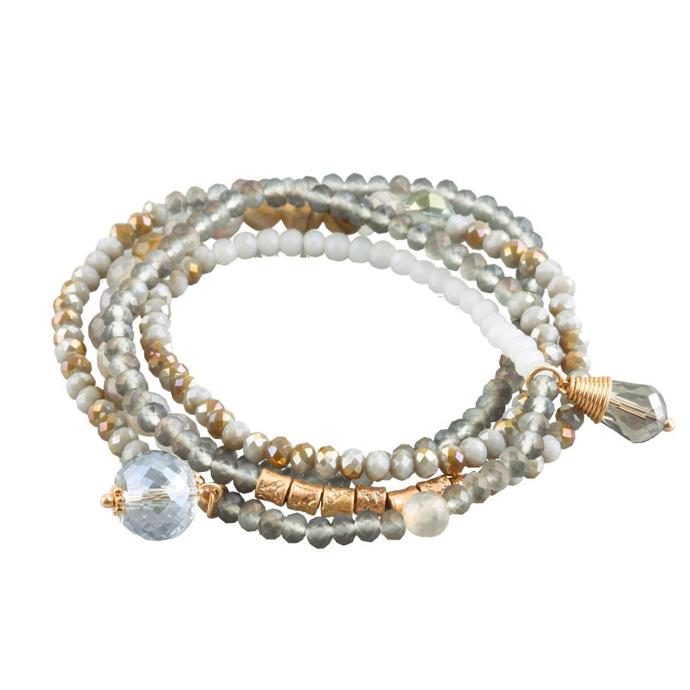 LuckyLy Wrap Bracelets for Women Gold with Grey Tones, Beaded Bracelets Modern Style with Lucky Charms, Beaded Jewelry for Women, Birthday Gifts for Women, Presents for Mom, Girlfriend Jewelry Gifts