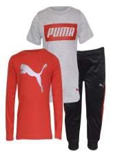 PUMA Boys' 3 Piece Graphic T-Shirt & Pant Set