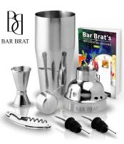 5 Piece Deluxe 24 Oz. Cocktail Shaker Bar Set Kit by Bar Brat / Bonus 130+ Cocktail Recipes (ebook) / Jigger, 2 Pour Spouts, Waiters Corkscrew / Mix Any Drink To Perfection