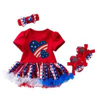 Amberetech 4th of July Outfit Infant Baby Girls Party Costume Flag Style Dress 3Pcs Clothing Set