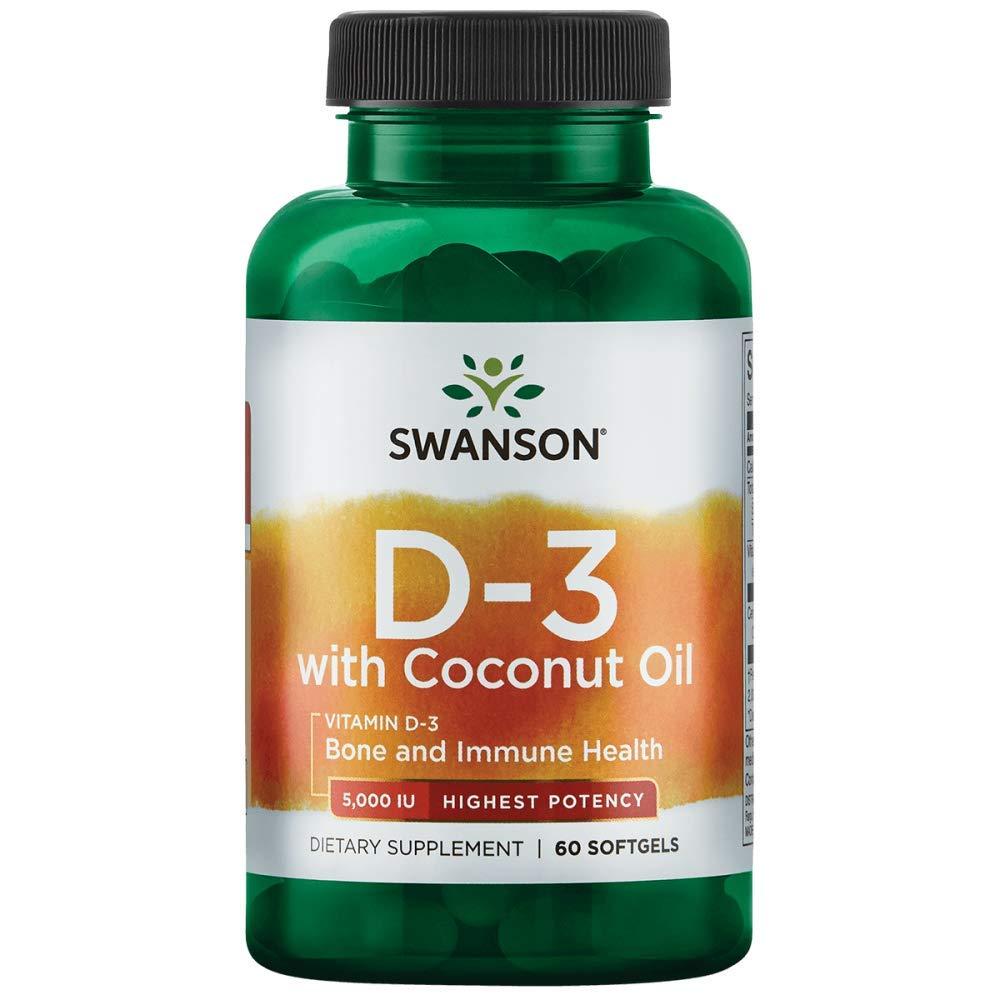 Swanson High Potency Vitamin D-3 with Coconut 5000 Iu (125 mcg) 60 Sgels