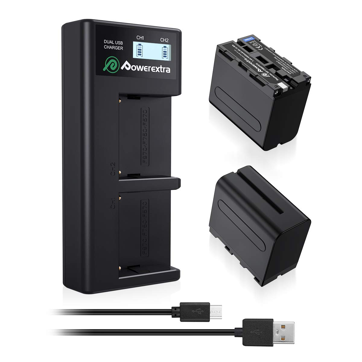 Powerextra 2 Pack Replacement Sony NP-F970 Battery and Smart LCD Display Dual USB Charger for Sony NP-F930 NP-F950 NP-F960 Battery and Sony CCD-SC55, TR516, TR716, TR818, TR910, TR917