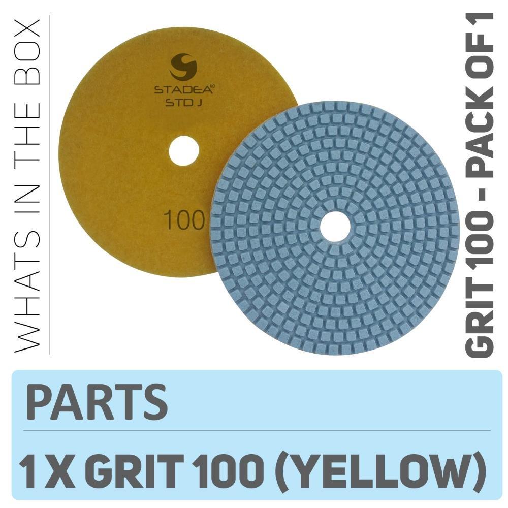 Stadea PPW193D Diamond Polishing Pads 5 Inch - For Concrete Terrazzo Marble Granite Countertop Floor Wet Polishing, Grit 100
