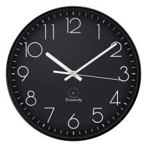 DreamSky 12-Inch Large Wall Clock, Non-Ticking Silent Decorative Indoor Kitchen Living Room Round Retro Clock, AA Battery Operated Clocks.