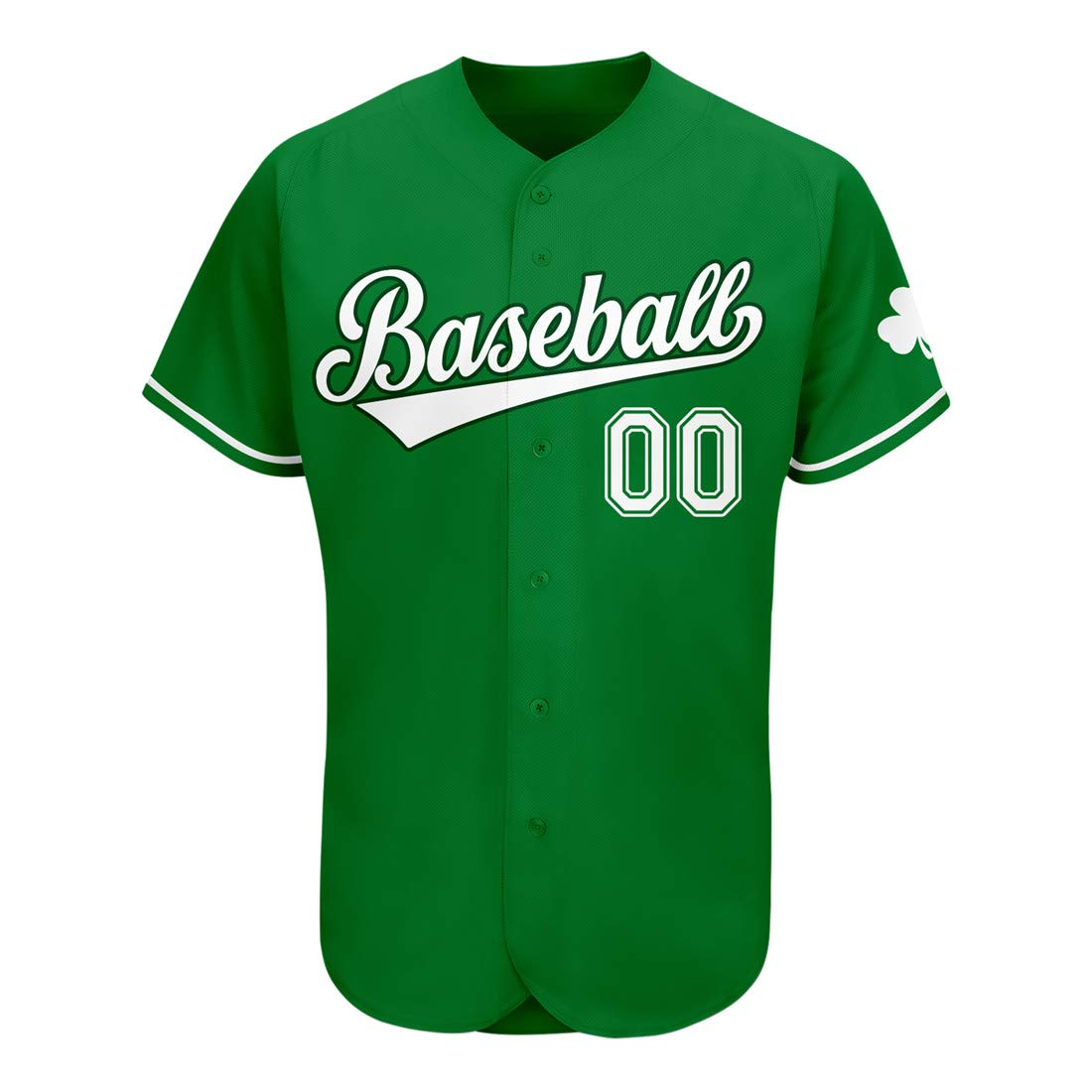 Custom Embroidered Baseball St Patrick's Day Jersey Design Personalized Team Name and Number for Men/Women/Youth-Green