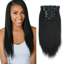 Lovrio 9A Yaki Straight Real Remy Thick 100% Clip in Human Extensions Natural Black Color Full Head Brazilian Virgin Hair for Black Women 7 Pieces 120g, YK 20""
