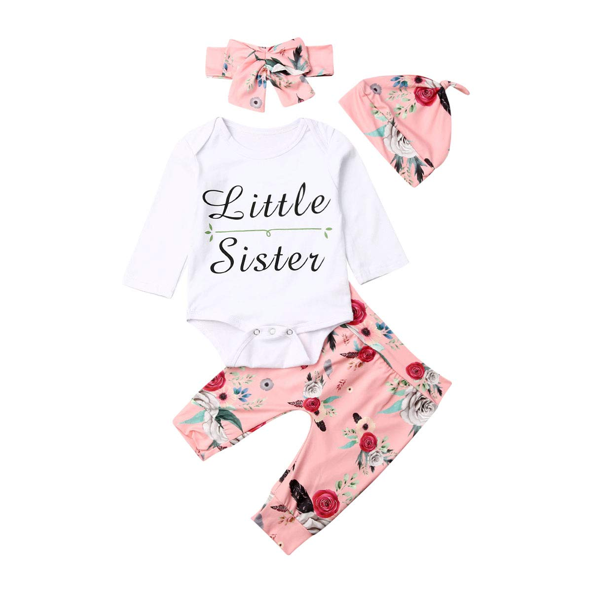 Infant Toddler Baby Girl Clothes Ruffle Romper Long Sleeve Floral Bowknot Pants Bodysuit Outfit Sets