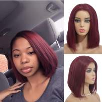 Human Hair Bob Lace Front Wigs Brazilian Real Remy Hair Lace Frontal Bob for Black Women Pre Plucked Bleached Knots Glueless Middle Part Silky Straight Natural Hairline 180% Density Burgundy 12 Inch