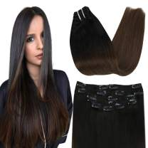 【7% Off】VeSunny Clip in Human Hair Extensions Brown Ombre 18inch Color #1B Natural Black Fading to #4 Dark Brown Double Weft Clip Hair Extensions Remy Hair 7pcs 120gram/Set