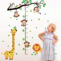 decalmile Animal Monkey Tree Height Chart Wall Stickers Giraffe Lion Kids Measure Growth Wall Decals Baby Nursery Kids Bedroom Living Room Wall Decor