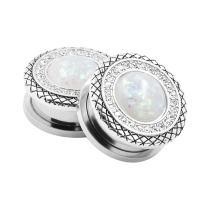 Qmcandy 2pcs 2G-1 in Stainless Steel Mother of Pearl or Opal Screw Ear Plugs Gauges Piering