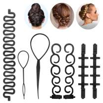 Hair Styling Set Kit - Hair Braiding Tool Hair Design Styling Tools Accessories Hairdressing Tools DIY Hair Styling Tool Magic Ponytail Maker Fashion for Girls Women (Black-a)