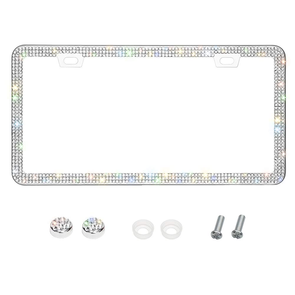Otostar Bling Bling Car License Plate Frame, Handmade 8 Facets Rhinestones Stainless Steel License Plate Holder Cover with Screws Caps (Silver 3 Rows 2 Holes)