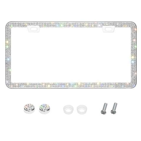 Handmade 8 Facets Rhinestones Stainless Steel License Plate Holder Cover with Screws Caps Otostar Bling Bling Car License Plate Frame Hot Pink 3 Rows 2 Holes